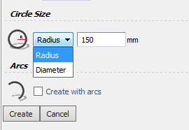 Enters Size By Radius Or By Diameters