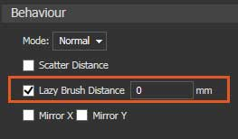 Lazy brush distance